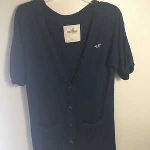HOLLISTER Navy Blue Button-Down Sweater